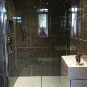 walk in shower installed in a home in Dronfield